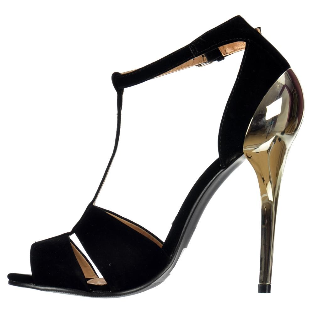 dd1557f3a47 Shoekandi T Bar Peep Toe Mid Heels - Gold Heel Strappy Sandals ...