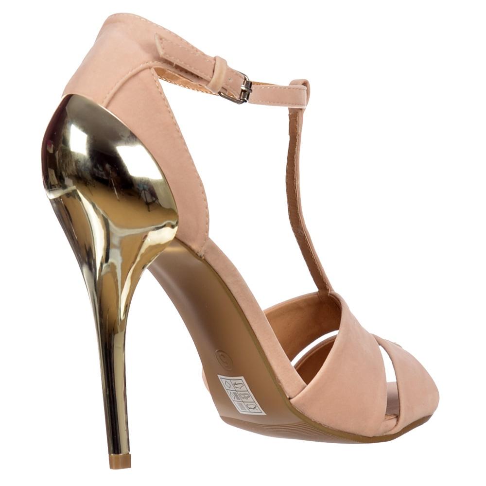 27178ba33 ... Shoekandi T Bar Peep Toe Mid Heels - Gold Heel Strappy Sandals - Nude  Beige Suede ...