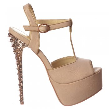Shoekandi T Bar Platform Stiletto Sandal - Silver Chrome Spiked Heel - Nude Beige
