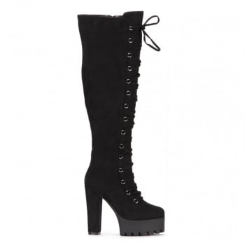Shoekandi Tall Over The Knee Thigh High Block Heel Cleated Platform Fully Laced Boot