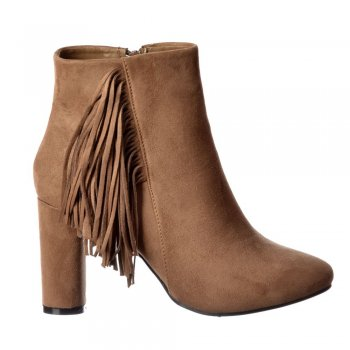 Shoekandi Tassel and Fringe Suede Block Heeled Ankle Boot - Black, Taupe