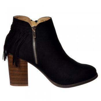 Shoekandi Tassel and Fringe Suede Cuban Heel Ankle Boot - Black, Taupe