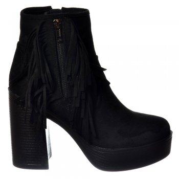 Shoekandi Tassel and Fringe Suede High Block Heel Ankle Boot - Black, Taupe