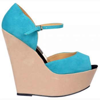 Shoekandi Three Tone Wedge Peep Toe - Ankle Strap - Nude / Aqua / Black Suede