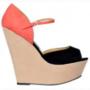 Three Tone Wedge Peep Toe - Ankle Strap - Nude / Coral / Black Suede