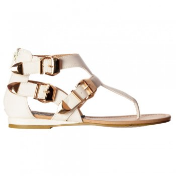 Shoekandi Triple Buckle Gladiator Toe Post Cut Out Flatform Flat Sandal - White, Black
