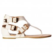 Triple Buckle Gladiator Toe Post Cut Out Flatform Flat Sandal - White, Black