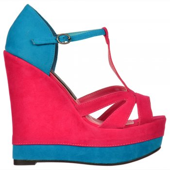 Shoekandi Two Tone Platform Suede Wedge Sandals - Ankle Strap - Fuchsia / Blue