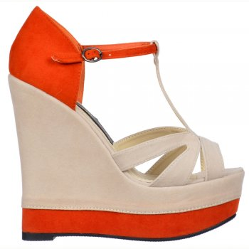 Shoekandi Two Tone Platform Suede Wedge Sandals - Ankle Strap - Nude / Orange