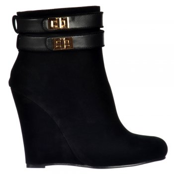 Shoekandi Wedge Ankle Suede Chelsea Boot - Straps Buckles - Black Suede