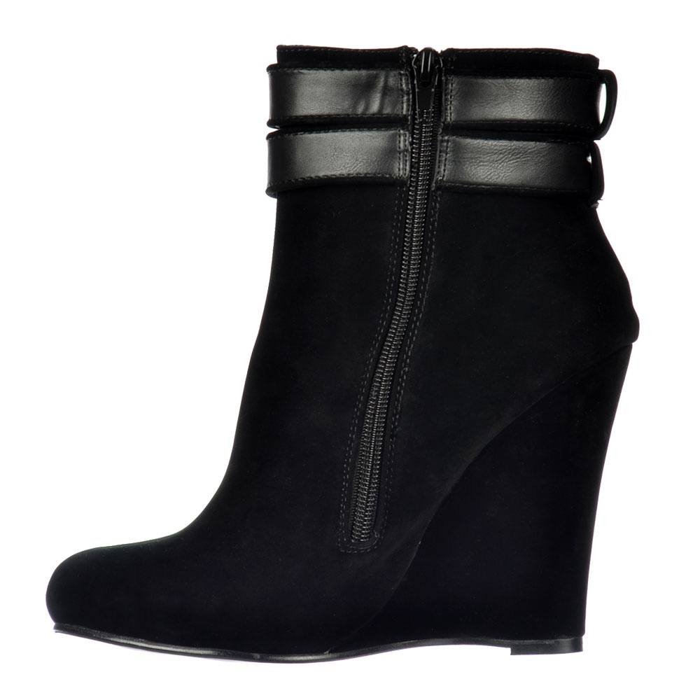 shoekandi wedge ankle suede chelsea boot straps buckles