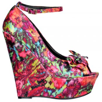 Shoekandi Wedge Peep Toe Satin Platform Shoes - Bow and Ankle Strap - Floral Multi