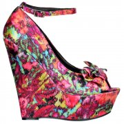 Wedge Peep Toe Satin Platform Shoes - Bow and Ankle Strap - Floral Multi