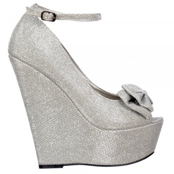 Shoekandi Wedge Platform Glitter Shoes Ankle Strap - Peep Toe Bow - Gold, Silver, Purple, Dark Nude