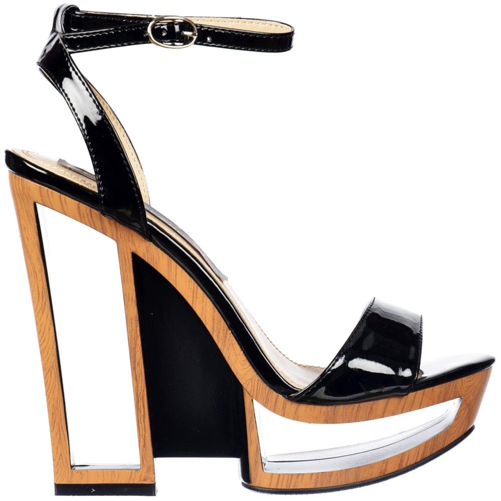 Black patent sandals uk -  Shoekandi Wedge Strappy Summer Sandal Hollow Wooden Effect Heel Detail Black Patent