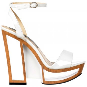 Shoekandi Wedge Strappy Summer Sandal - Hollow Wooden Effect Heel Detail - White Patent