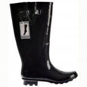 Wide Calf Flat Wellie Wellington Festival Rain Boots - Black Patent