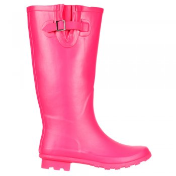 Shoekandi Wide Calf Flat Wellie Wellington Festival Rain Boots - Hot Pink