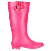 Wide Calf Flat Wellie Wellington Festival Rain Boots - Hot Pink
