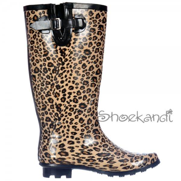 fb6a9ed6d3be ... Shoekandi Wide Calf Flat Wellie Wellington Festival Rain Boots - Leopard  Print. ‹