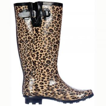 Shoekandi Wide Calf Flat Wellie Wellington Festival Rain Boots - Leopard Print