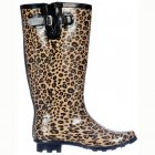 Wide Calf Flat Wellie Wellington Festival Rain Boots - Leopard Print