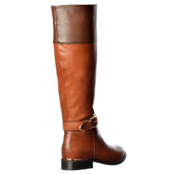 0382665de4ff Shoekandi Wide Calf Knee High Flat Riding Boot - Gold Heel and Buckle Detail  - Brown. ‹ View All Shoekandi  ‹ ...
