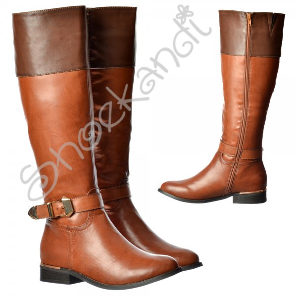 0657d89d1dd3 Shoekandi Wide Calf Knee High Flat Riding Boot - Gold Heel and Buckle Detail  - Brown - Shoekandi from ShoeKandi UK