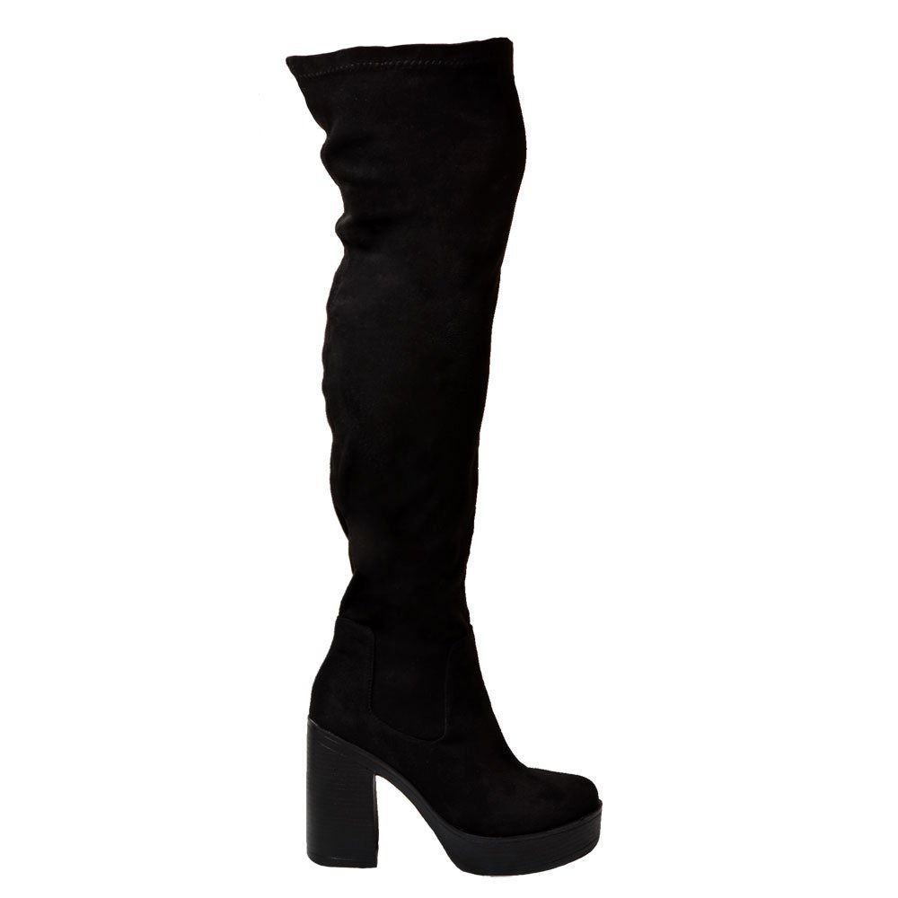 shoekandi wide stretch the knee thigh high block heel