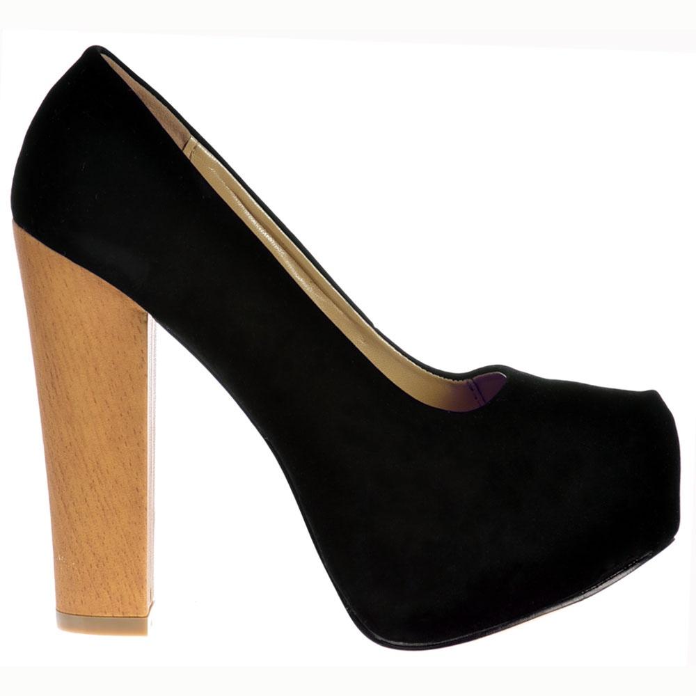 45c5f499d0a9 Shoekandi Wood Effect Block Heel Concealed Platform Shoes - Black Suede ...