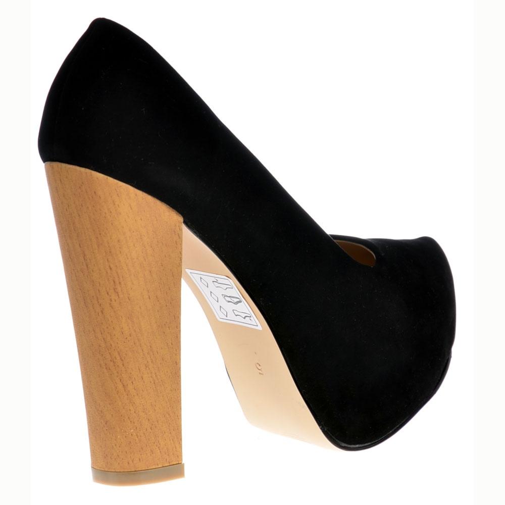 97c494b7b622 ... Shoekandi Wood Effect Block Heel Concealed Platform Shoes - Black Suede  ...