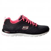 Simply Sweet Memory Foam Flex Appeal Lifestyle Trainers - Black Hot / Pink