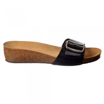 Sweet Chloe Full Leather - Single Strap Buckled Flip Flop Sandal - Black, Tan