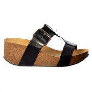 Vivian Full Leather Flip Flop Wedge Sandal - Black, Turquoise