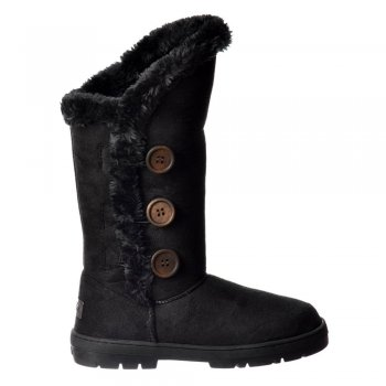 Ella Triple 3 Button Fully Fur Lined Flat Ella Winter Boot - Chestnut Brown, Black, Dark, Brown