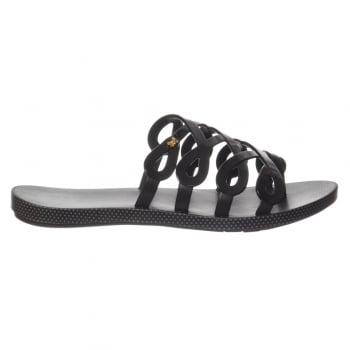 Zaxy Infinity Flat Slip on Jellie Flip Flop Sandal - Black