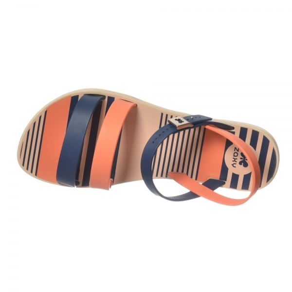52938a13fdb96 Zaxy Urban Flat Jellie Strappy Sandal - Navy   Coral - Zaxy from ...